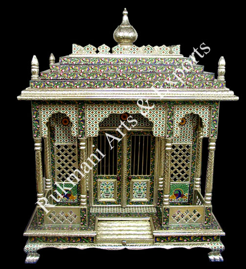 Meenakari temple, white metal temple, german Silver Temple ...