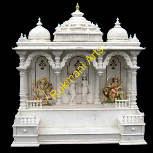 Marble temple mandir home designs hindu marble temple for Home mandir designs marble