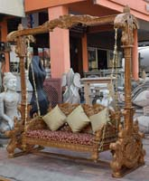 Code 146 buy carved indian maharaja wooden swings wooden for Garden jhoola designs